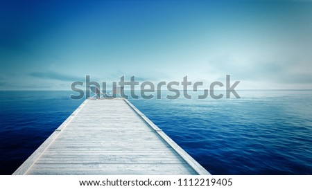 white lounger & Wooden pier on the tropical beach with blue sea and sky / 3D render perspective