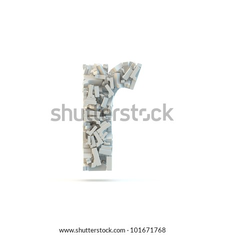 White lowercase letter r isolated on white. Part of high resolution graphical alphabet set.