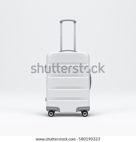 White Luggage mockup, Suitcase, baggage, 3d rendering