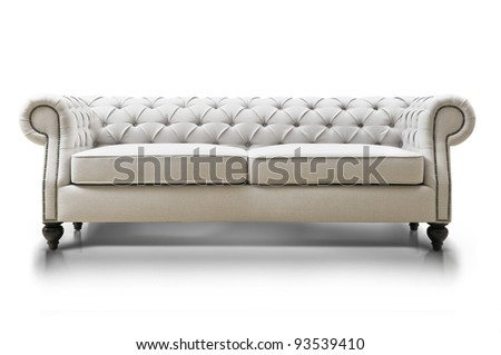 white Luxurious sofa isolated on white background, front view.