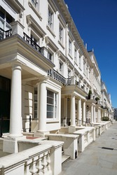 White luxury houses facades in London, borough of Kensington and Chelsea