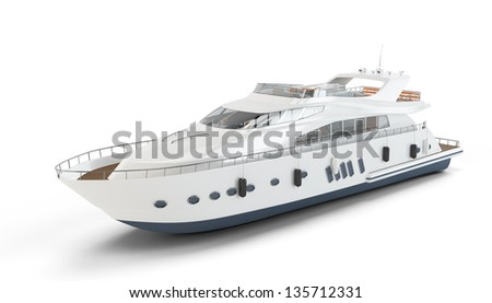 White luxury yacht isolated on white background