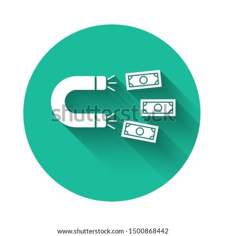 White Magnet with money icon isolated with long shadow. Concept of attracting investments, money. Big business profit attraction and success. Green circle button