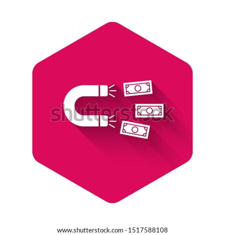 White Magnet with money icon isolated with long shadow. Concept of attracting investments, money. Big business profit attraction and success. Pink hexagon button