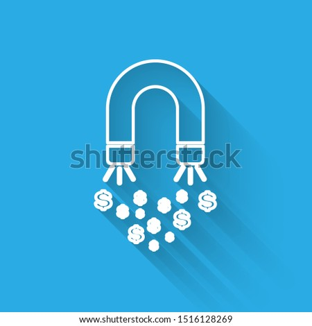 White Magnet with money line icon isolated with long shadow. Concept of attracting investments, money. Big business profit attraction and success