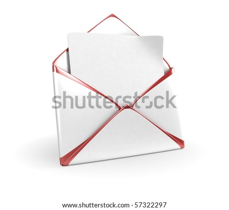White Mail Envelope With Red Edges