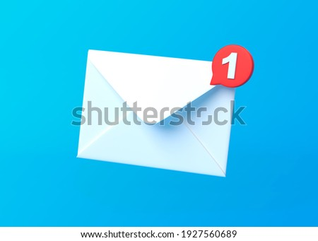 White mail envelope with red marker message on blue background. Envelope falling on the ground. Email notification. Minimal design. 3D rendering illustration