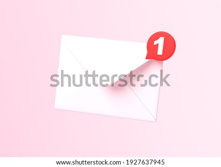 White mail envelope with red marker message on pink background. Envelope falling on the ground. Email notification. Minimal design. 3D rendering, 3D illustration