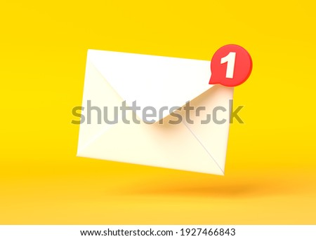 White mail envelope with red marker message on yellow background. Envelope falling on the ground. Email notification. Minimal design. 3D rendering, 3D illustration