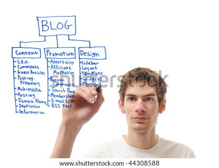 stock photo : White male caucasian young adult writing out his plan for his ...