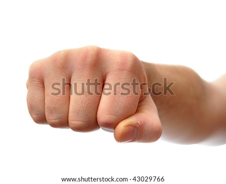 White male clenched fist, punching up into the air.