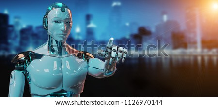 White male cyborg pointing his finger isolated on dark blue background 3D rendering