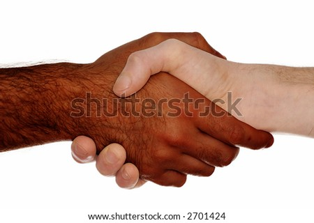 stock photo : White man and black man shaking their hands