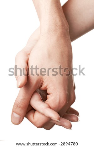 White man and woman hands