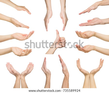White man hands showing symbols and gestures, like, offering isolated on white background. Set of male hands. #735589924