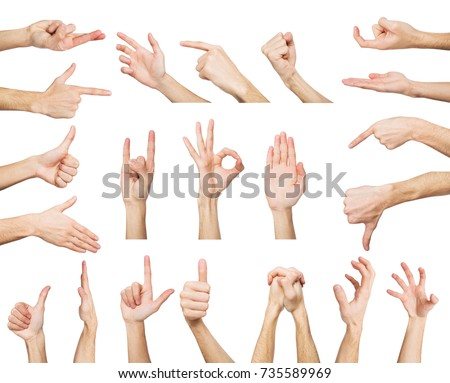 White man hands showing symbols and gestures, like, offering isolated on white background. Set of male hands. #735589969