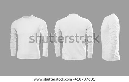 White man's T-shirt with long sleeves with rear and side view on a grey background