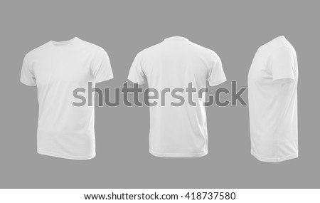 White man\'s T-shirt with short sleeves with rear and side view on a grey background