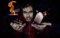 white man with blue eyes with hood and mysterious looking beard with two decks of cards, the cards levitate and burn with effects of sparks and smoke