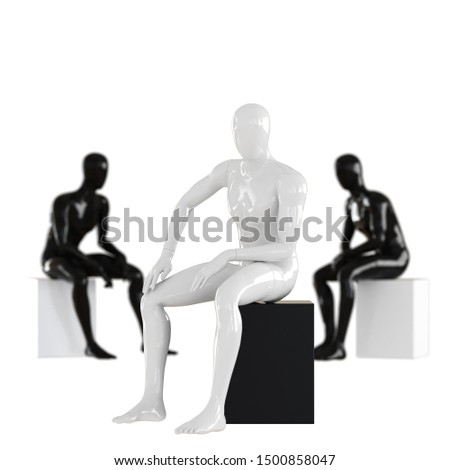 White mannequin guy sits on a background of two black mannequins. Depth of field effect.3D rendering