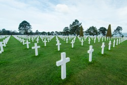White marble cross on American Cemetery in Normandy,France