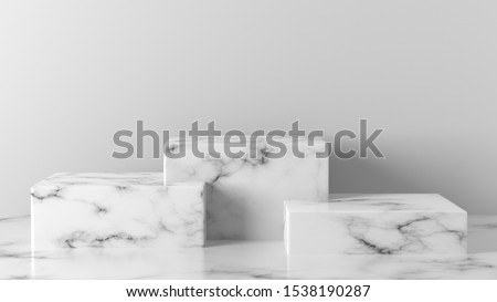 white Marble cube, square box podium in  white background. concept scene stage showcase for new product, promotion sale, banner, discount, presentation, cosmetic. with copy space - 3D rendering
