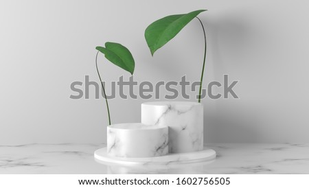white Marble cylinder, circle podium with green leaves in white background. concept scene stage showcase for new product, promotion sale, banner, presentation, cosmetic. with copy space - 3D rendering