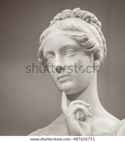 White marble head of young woman - Shutterstock ID 487626751