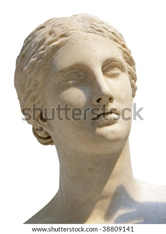 White marble head of young woman isolated on white