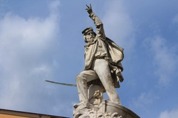 White marble monument of the Italian general Giuseppe Garibaldi in the city of Carrara, Tuscany.