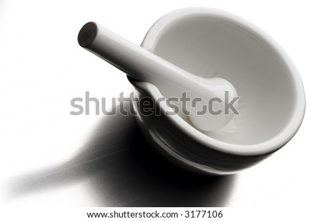 white marble mortar and pestle - stock photo