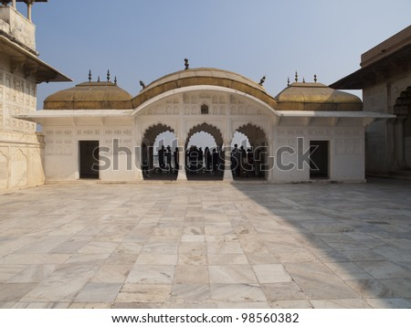 White marble palace Khaas Mahal. Inside the Red Fort of Agra. India