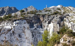 White marble quarries of carrara in the apuan alps massa carrara tuscan Italy