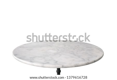 Photo of  white marble stone table top isolated on white background, for product display