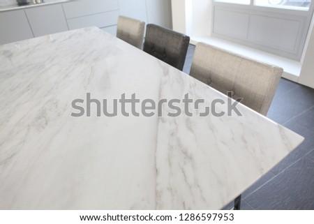 white marble table set #1286597953