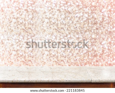 White marble Table with bokeh pink sparkling background,Empty room for display your product