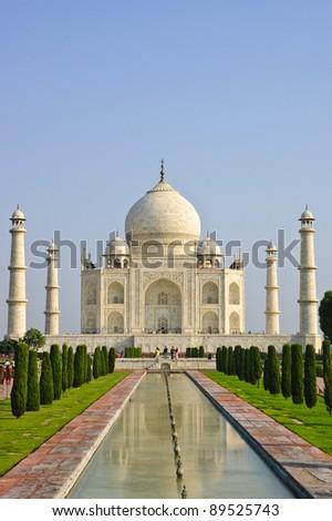 White marble Taj Mahal in Agra, India