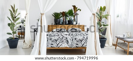 White marquees in floral bedroom interior with wooden bed with patterned bedsheets and plants on bedhead