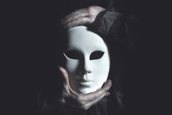 white mask theatrical concept