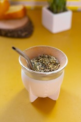 white mate primed. Argentine tradition. Paraguayan tradition, Uruguayan tradition. Yerba mate. traditional drink