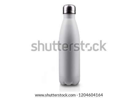 White-matte, empty stainless thermo water bottle close-up isolated on white background. Studio photography #1204604164