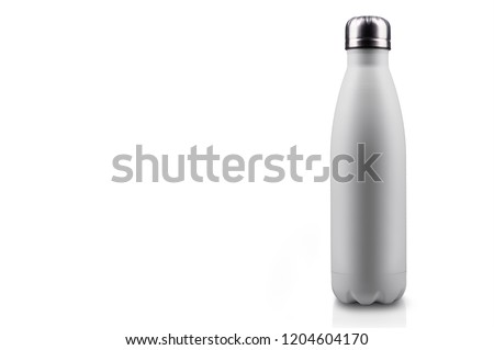 White-matte, empty stainless thermo water bottle close-up isolated on white background. Studio photography