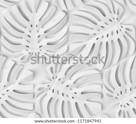 White matte tropical monstera leaves on a white background. High quality seamless realistic texture.