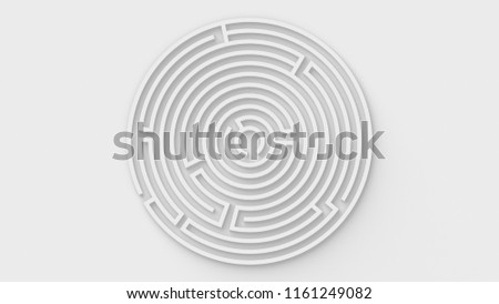 White Maze / Labyrinth in Round Shape - 3D Illustration