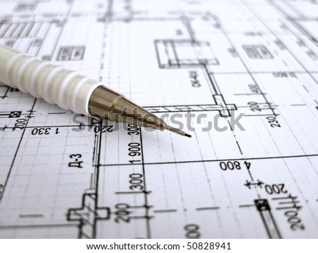Architectural Drafting  Design on White Mechanical Pencil On Architectural Drawing   Stock Photo