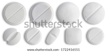 White medical Pill icon set closeup isolated on white background. Medical Drugs Pills and Capsules. Medical, healthcare, pharmaceuticals and chemistry concept.