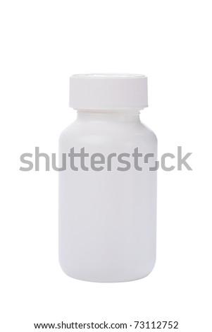 white medicine bottle isolated white