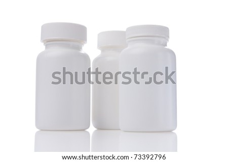 white medicine bottles with reflex isolated white