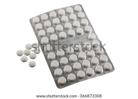 White medicine pills isolated on white background  Zdjęcia stock ©