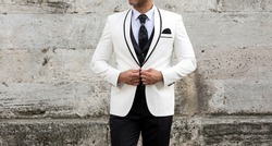 White men's groom suit black and white wonderful combination fashion trend men's wear